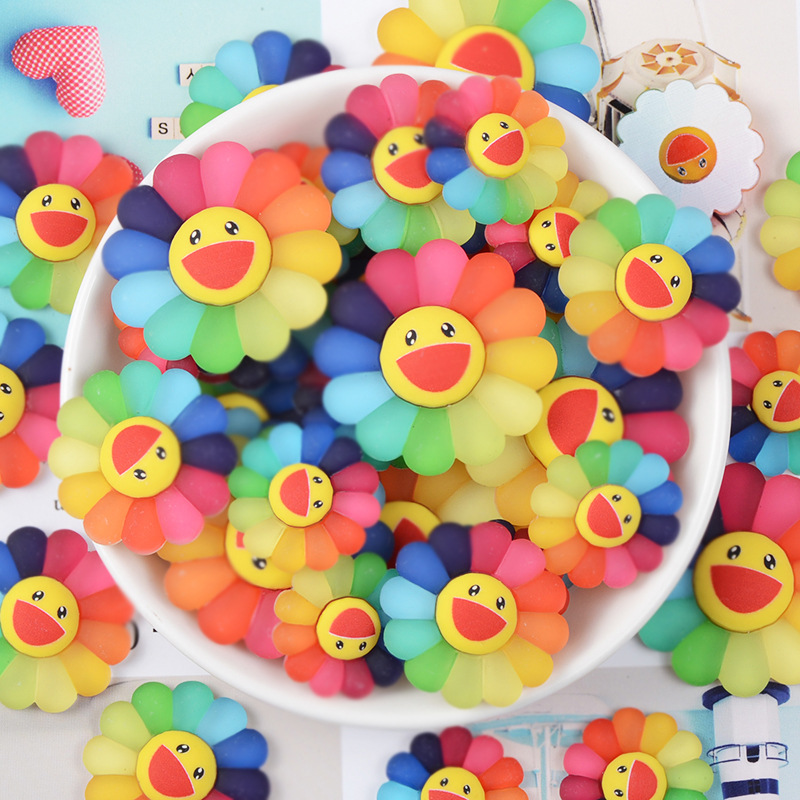 10/5pc Cute Resin Flatback Rainbow Sunflower Smile Face Cabochons Resin Flatback Scrapbooking Miniatures Sunflower Hair Bow DIY
