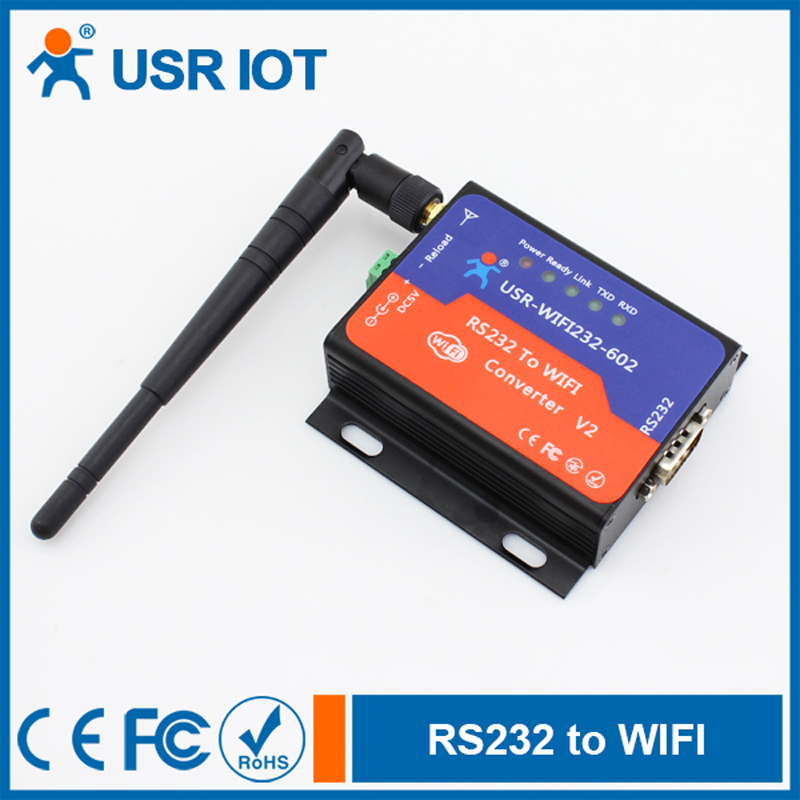 Q063 USR-WIFI232-602V2 Serial RS232 to Wireless /WIFI 802.11 B/G/N Server Converter, Embedded Wifi Module hlk rm04 uart serial port to ethernet embedded wifi module wireless network converter module with pcb antenna q013