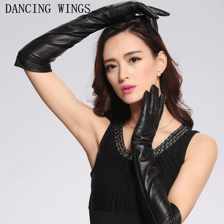 Black Genuine Leather Women Lady Sexy Arm Length Gloves Luxury Sheepskin Long Solid Gloves