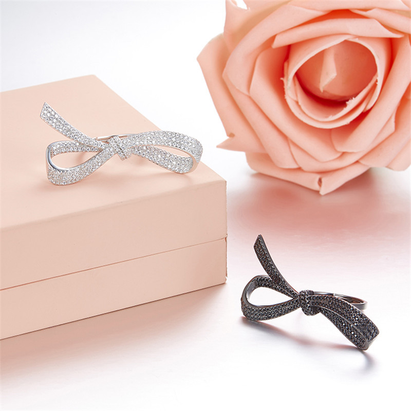 ZOZIRI Famous Fashion Classic Charm Crystal Bow Ring For Women Wedding Party 925 sterling Silver ribbon knot Ring Jewelry giftZOZIRI Famous Fashion Classic Charm Crystal Bow Ring For Women Wedding Party 925 sterling Silver ribbon knot Ring Jewelry gift