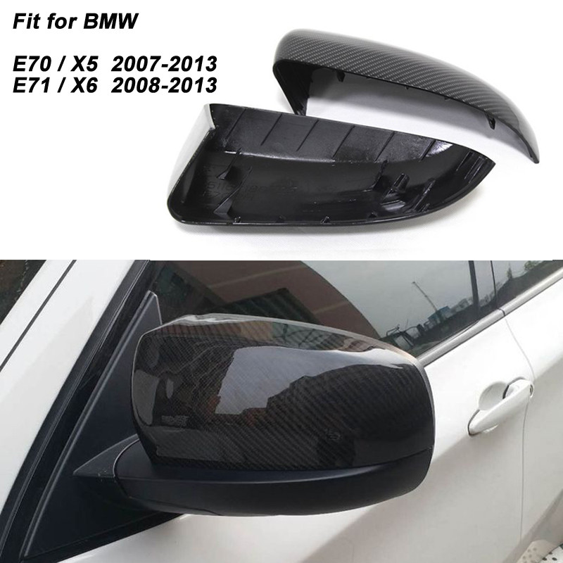 For BMW X5 E70 X6 E71 Carbon Fiber Mirror Cover Rear View caps Replacement & Add on style 2007 2008 2009 2010 2011 2012 2013