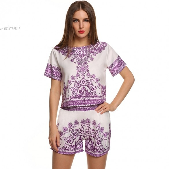High Quality New Women Floral O-Neck Short Sleeve 2PCS Slim Casual Tops Shorts Set Drop Shipping 60