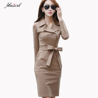Spring long sleeved dress women's Medium long section2018autumn winter career pack hip Slim solid color suit collar dresses p180