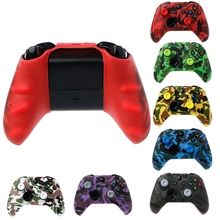 OOTDTY Camouflage Silicone Gamepad Cover + 2 Joystick Caps For XBox One X S Controller