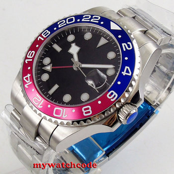 Топ 40 мм bliger черный стерильный циферблат сапфировое стекло GMT красный синий Безель окно даты автоматические мужские часы P212