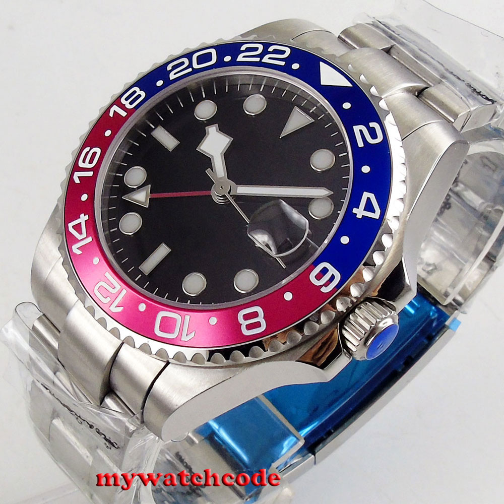 Топ 40 мм bliger черный стерильный циферблат сапфировое стекло GMT красный синий ободок окно даты автоматические мужские часы P212