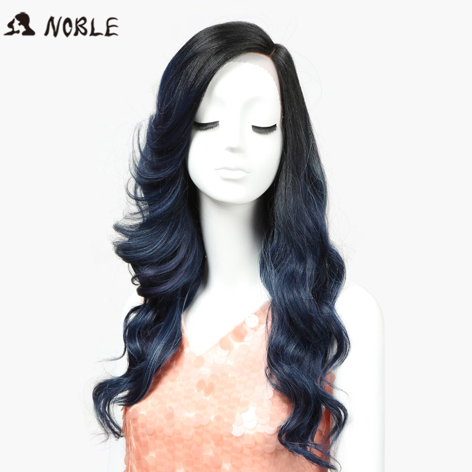 Noble T Part Lace Front Ombre Blue Wig 22 Inch Long Wavy Synthetic Wigs Full I Part Wigs 3 Colors Choice Free Shipping