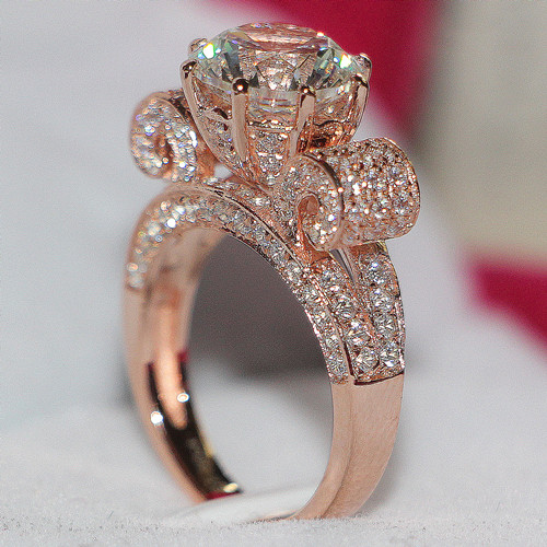 Solid 18k Rose Gold Moissanite Jewelry