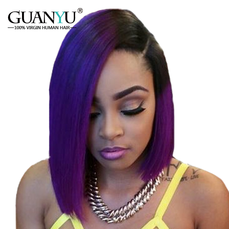 Guanyuhair Ombre 1B Purple Bob Short Cut Lace Front Wigs Straight Free Part 130 Density Peruvian