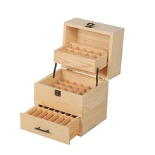 59 Grid Level 3 Space Savings Wooden Storage Case Essential Oil Box Multi-Tray Organizer Large Organizers(China)