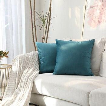 Funda de almohada de tiro azul Funda de cojín de terciopelo para sala de estar Sofá 45 * 45 Cojines Kussenhoes Decoración del hogar Housse De Coussin 1