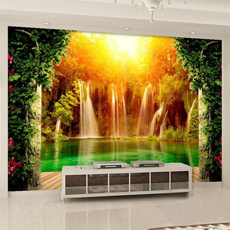 Home Garden Design Ideas Hd Desktop Wallpaper Instagram: 3D Wallpaper Waterfall Forest Nature Landscape Photo Mural