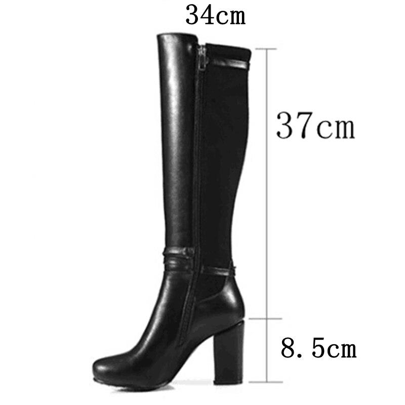 Ayakk.'ten Diz Hizası Çizmeler'de REAVE KEDI Kadın diz yüksek çizmeler Streç Geri kış sıcak Yuvarlak ayak Moda botas Kaliteli ayakkabı ayakkabı Fermuar Kalın topuk A956'da  Grup 3