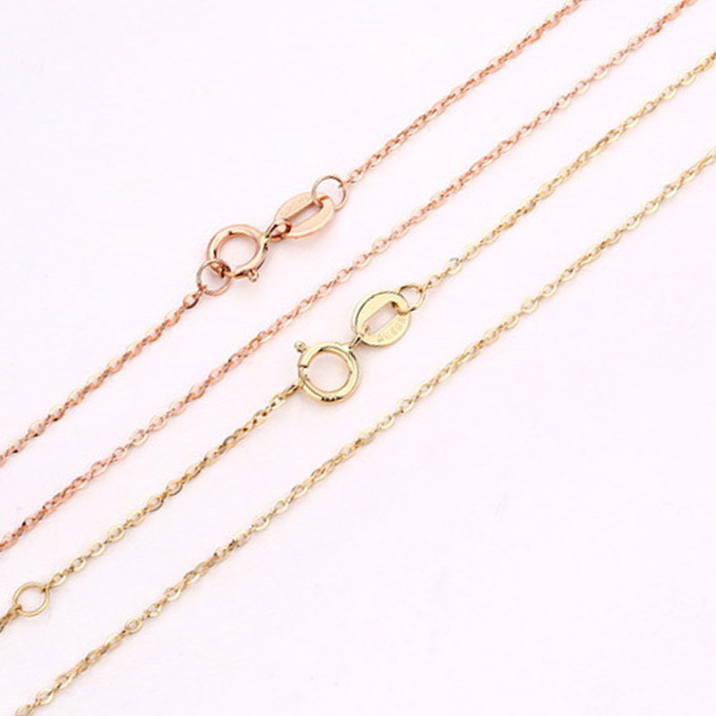 ANI 14K Yellow Rose Gold Chain Necklace Fine Jewelry Fashion Women Engagement Necklace Chain for Pendant