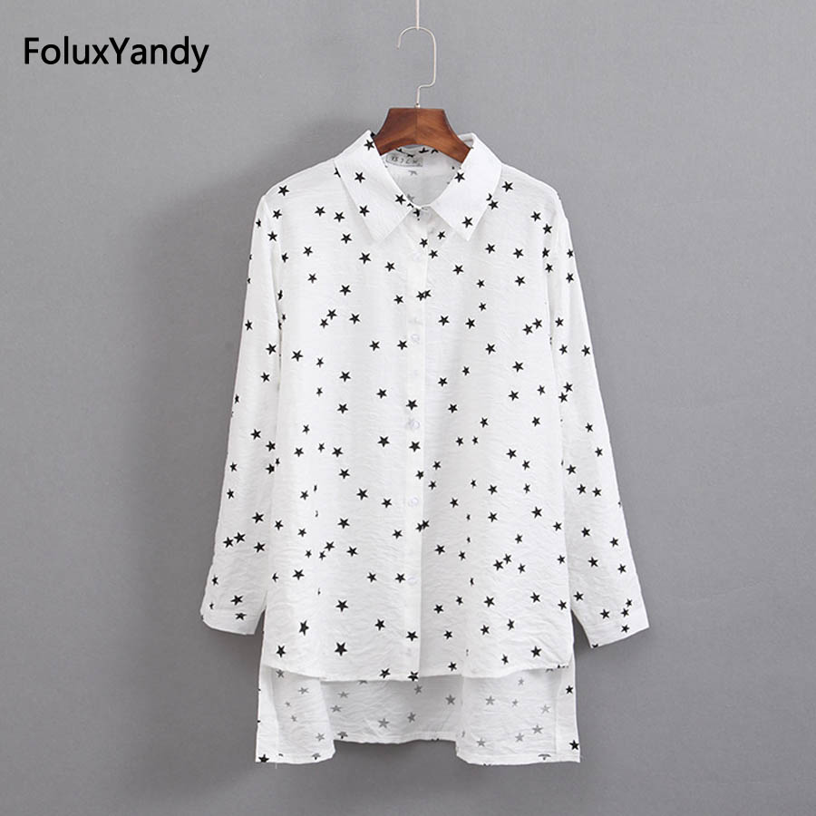 Stars Print Loose Shirts Women Plus Size 3 4 XL Casual Spring Summer Long Sleeve Blouse Shirt KKFY1496