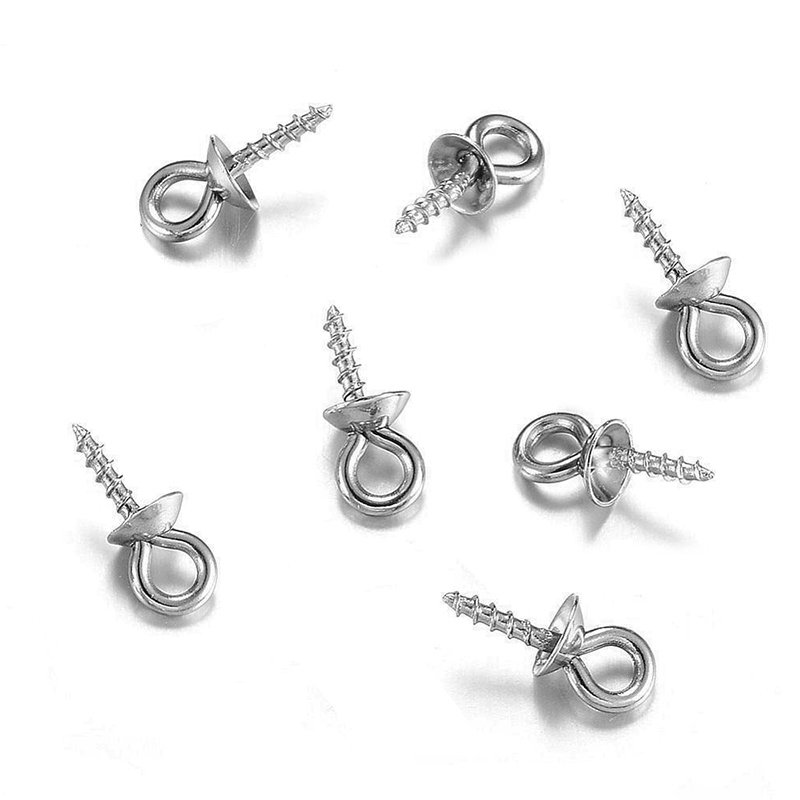 30pcs Stainless Steel Metal Tone Screw Eyes Bails Top Drilled Beads End Caps Pendant DIY Charms Connectors Jewelry Accessories