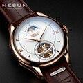 Швейцария NESUN Tourbillon механические часы для мужчин люксовый бренд автоматический бизнес Скелет Водонепроницаемый Relogio Masculino M9038-4
