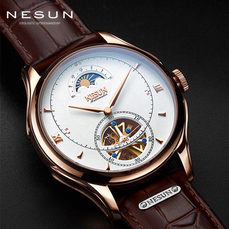Szwajcaria NESUN mechaniczny zegarek z tourbillonem mężczyźni luksusowa marka automatyczne biznes szkielet wodoodporny Relogio Masculino M9038 4 w Zegarki mechaniczne od Zegarki na  Grupa 1