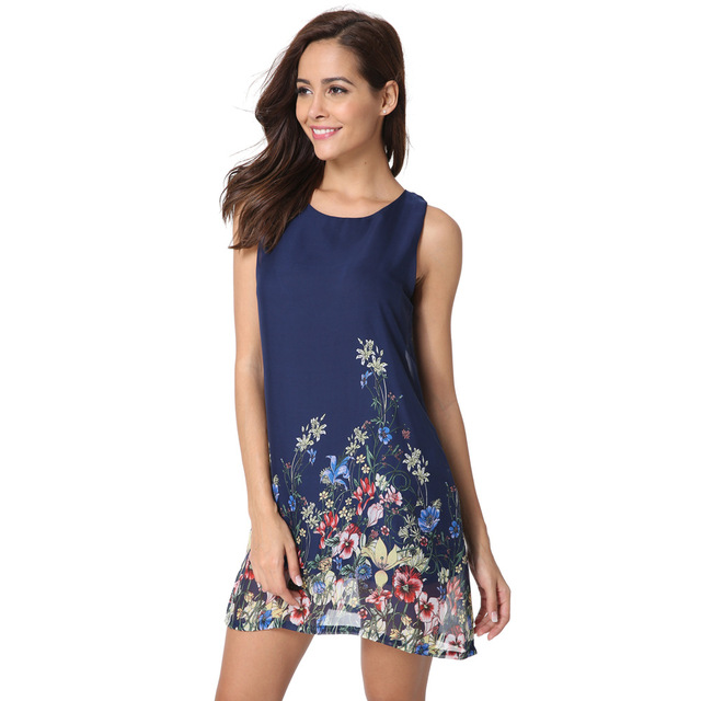 d46f892748 2018 Summer Mini Dresses New Arrival Womens Round Neck Floral Printing  Sleeveless Fashion Female Boho Shift Dress