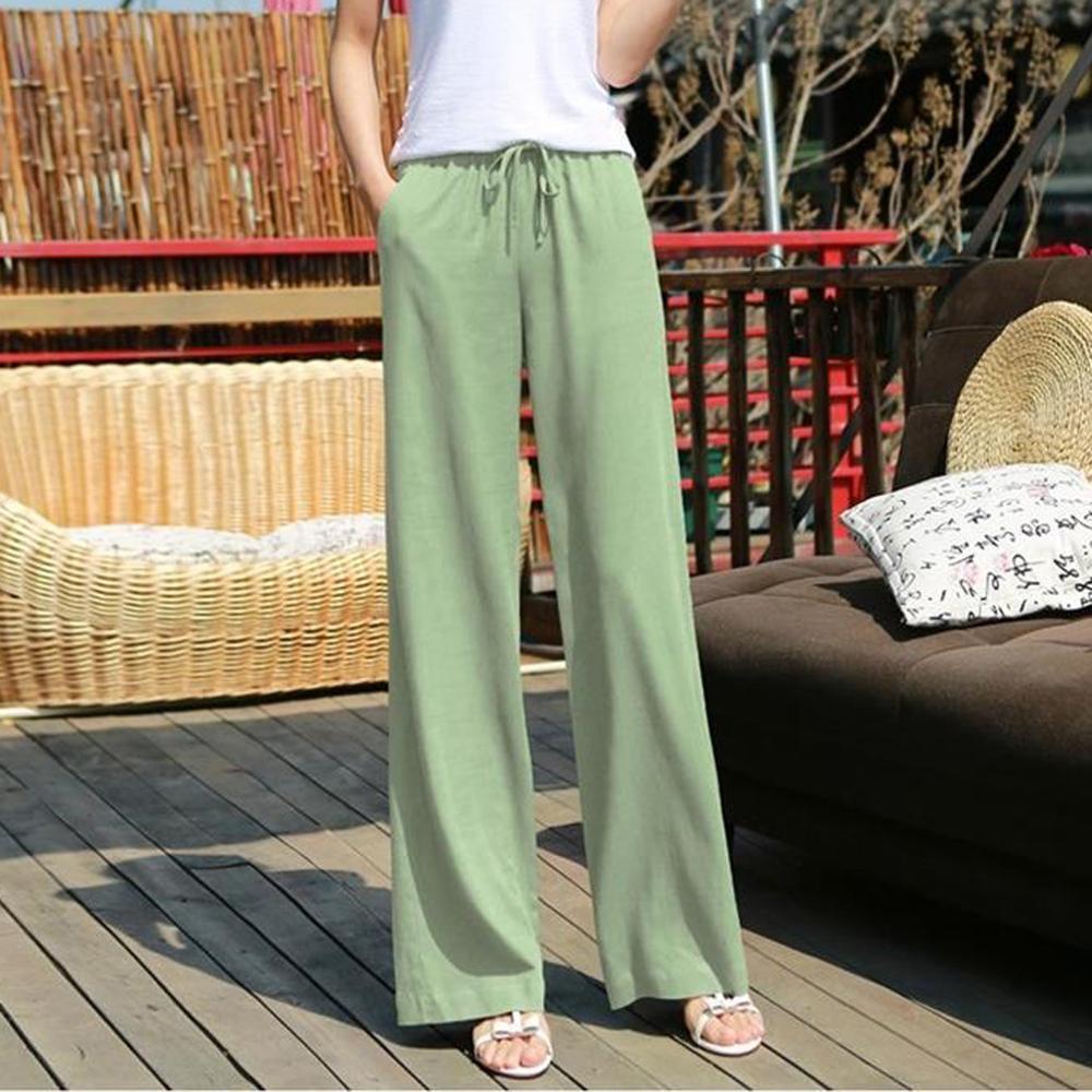 Summer Trousers Women Casual Pure Color Lace Up Tightness Wide Leg Pants Pocket Easy Trousers Broek Dames Hose Damen 25H