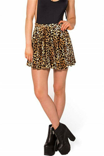 Hot Sexy Women Polyester Skirt 2019 New Leopard Printed High Waist Plaid Skater Pleated Short/Mini Skirt  Plus Size
