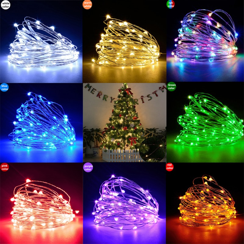 10M 100LEDs USB LED Copper Wire String Fairy Light Strip Lamp 50M 50LEDs Holiday Decoration Lights For Bedroom Living Room Xmas
