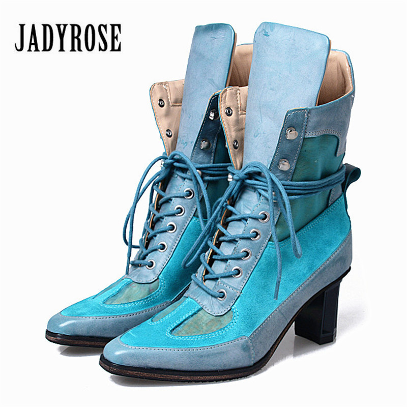 Jady Rose 2018 Winter Lace Up Women Patchwork Ankle Boots Lace Up High Heel Boot Comfortable High Top Martin Botas Women Pumps