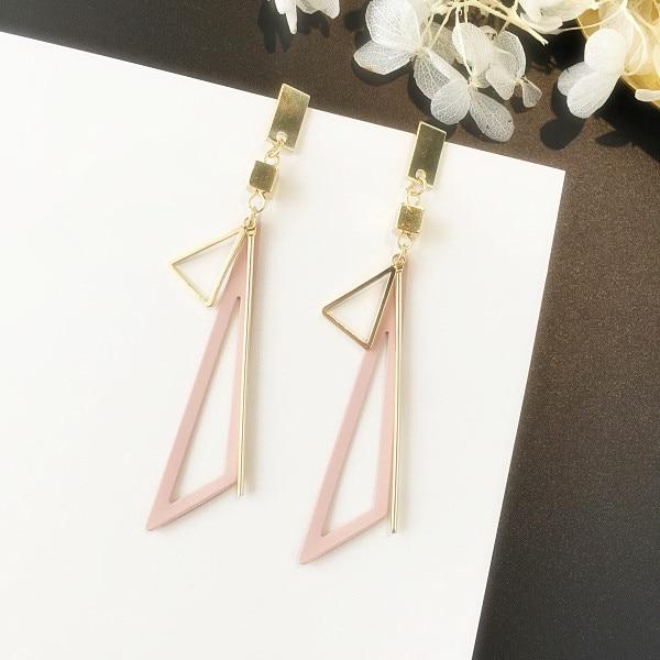 Mengjiqiao Korean Metal Triangle Fashion Simple Jewelry Geometric Earrings Drop For Women Brincos