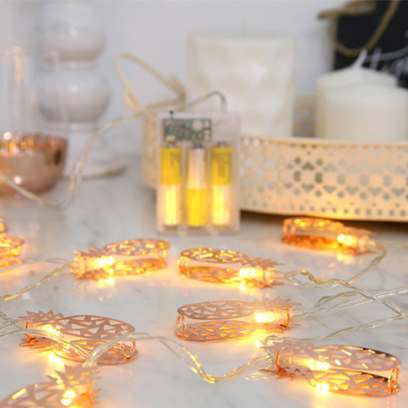 Rose Gold Light pineapple 10 LED Lantern String Lights hoiliday light for Bedroom Battery Powered