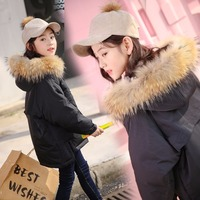 Girl winter coat 2018 new jacket large fur collar long thick winter jacket girls child coats outwears warm for cold winter