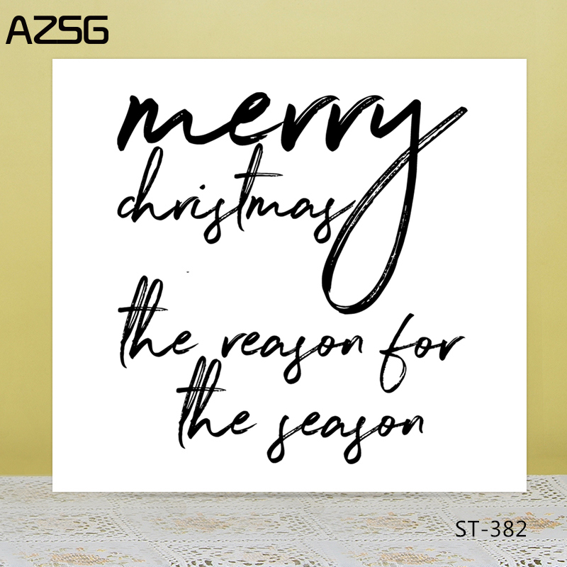 AZSG Merry Christmas Typeface Clear Stamps/Seals For DIY Scrapbooking/Card Making/Album Decorative Silicone Stamp Crafts