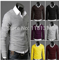 free shipping New 6 colors Stylish Mens V Neck Slim Fit KnitWear Jumper Top Pullover Sweater  size M-2xl