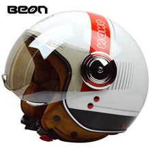 Free shipping BEON motorcycle helmet half helmet retro helmet male and female electric car helmet B-110 / White Red
