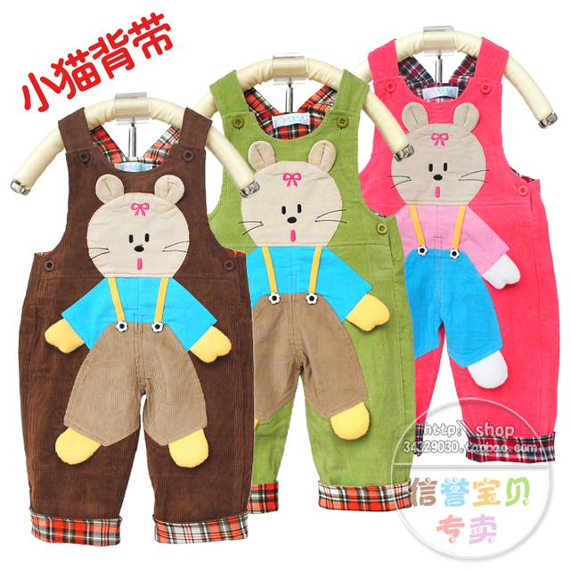 Nova Moda Venda 7month-2age Criança do bebê 100% algodão calças de veludo cotelê jardineiras infantis calças de uma peça de outono e inverno FRETE GRÁTIS