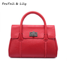 FoxTail & Lily Fashion Woven Top-Handle Bags Women Genuine Leather Designer Handbags High Quality Ladies Shoulder Crossbody Bag