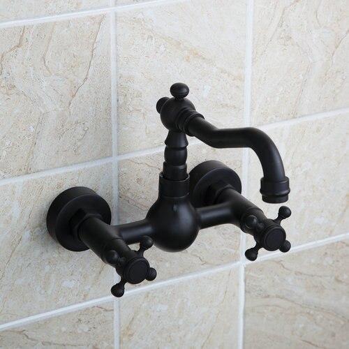 Kitchen Short Swivel 360 Bathroom Bathtub Faucet Torneira Wall Mount Oil Rubbed Black Bronze Basin Sink