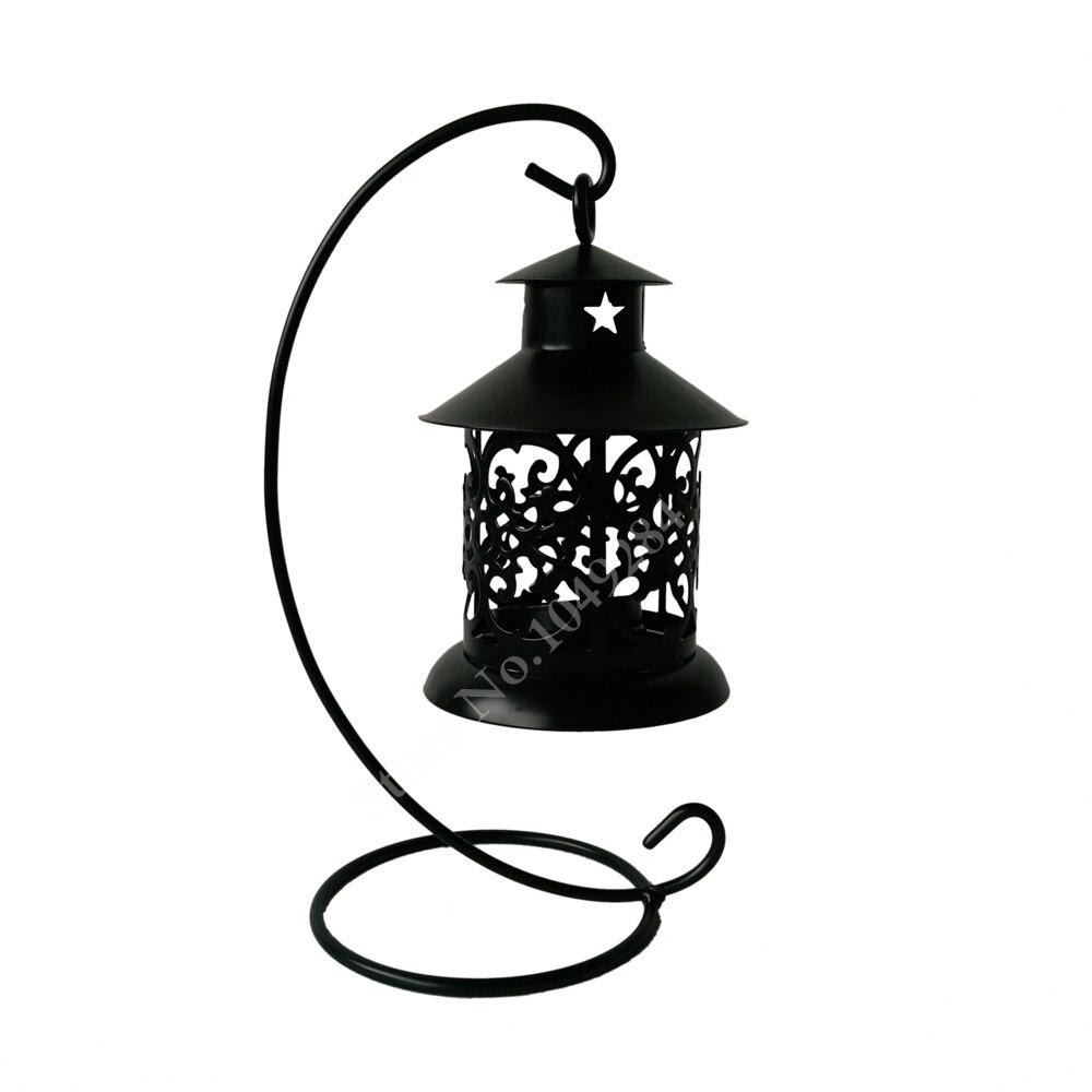 Pas cher 4 PCS LOT Coeur pointu En Métal bougeoir Petit Fer lanterne Noir Couleur