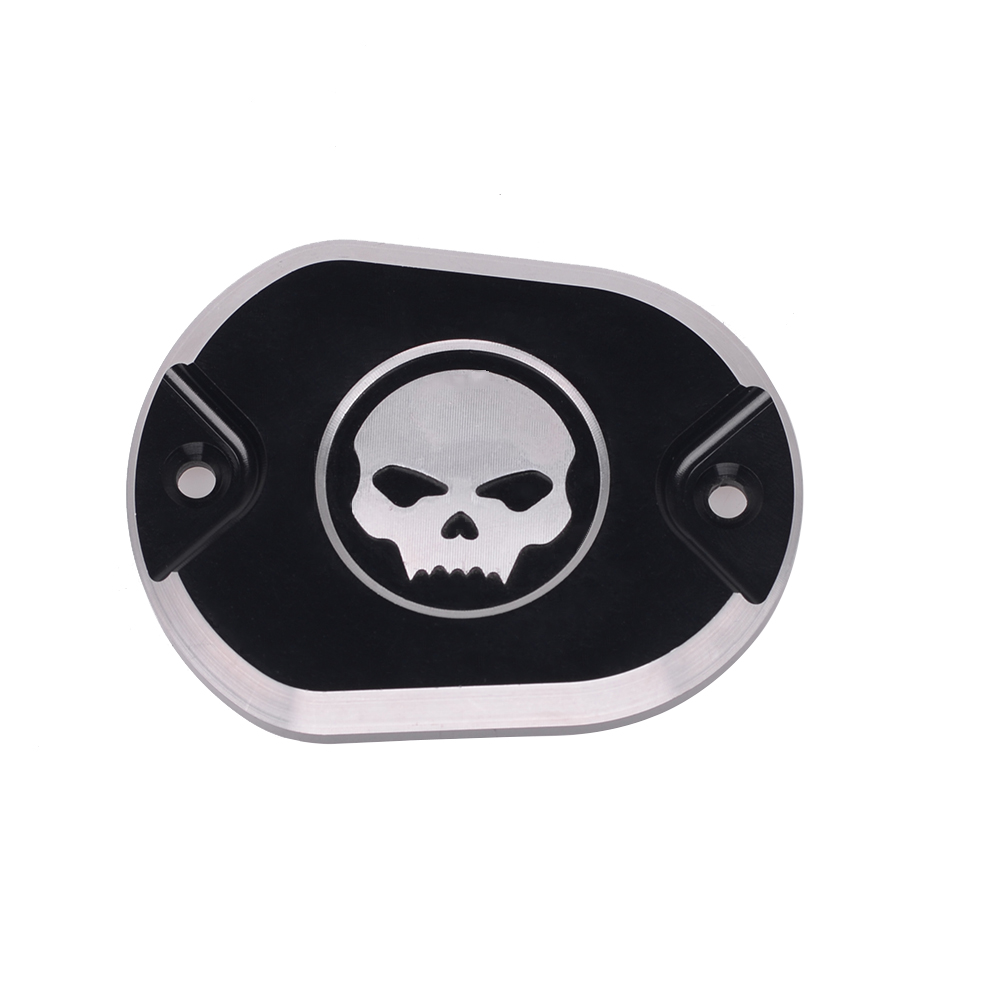 YOUNG.MOTO Motorcycle Black Aluminum CNC Cap Skull Front Brake Master Cylinder Cover For Harley XL 883 1200 Sportster 2005-2014 mtsooning timing cover and 1 derby cover for harley davidson xlh 883 sportster 1986 2004 xl 883 sportster custom 1998 2008 883l