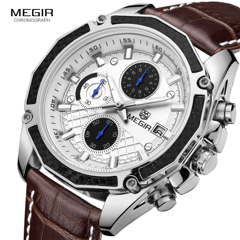 MEGIR quartz male watches Genuine Leather watches racing men Students game Run Chronograph Watch male glow hands for Man 2015G