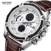 Megir relógios masculinos de couro, relógios de couro genuíno para homens, corrida, cronógrafo, jogos, para homens, brilha mãos para 2015g
