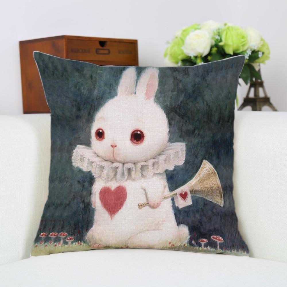 45 * 45cm Cartoon Rabbit Kuddeöverdrag Bomull Linne Kasta Kuddefall - Hemtextil
