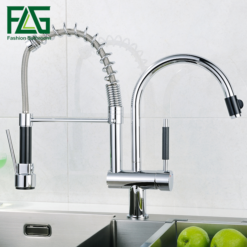 FLG Free Shipping Torneira Cozinha Polished Chrome Brass Double Spouts 360 Degree&Pull Out Kitchen Faucet.kitchen sink mixer tap