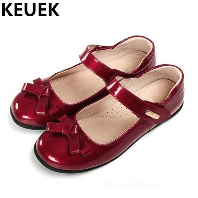 New Baby Girls Shoes Student Casual Dance Flat Patent Leather Children Shoes Toddler Hook & Loop Leather Shoes Kids Flats 04