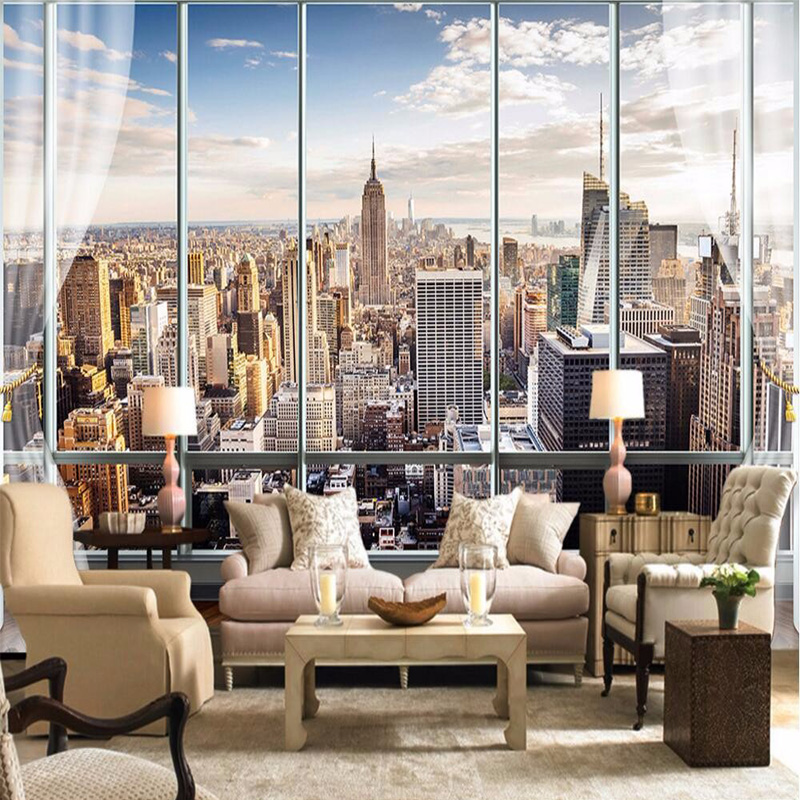 Photo Wallpaper Custom 3D Stereo Latest Outside The Window New York City Landscape Wall Mural Office Living Room Decor Wallpaper custom london red bus city view wallpaper личность ретро кафе гостиная фон 3d обои на рабочий стол обои домашний декор