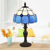 Vintage Glasmalerei Lampenschirm Tisch Lampe Tiffany Stil Tisch Lampe Retro Wohnkultur Tisch Lampe E27