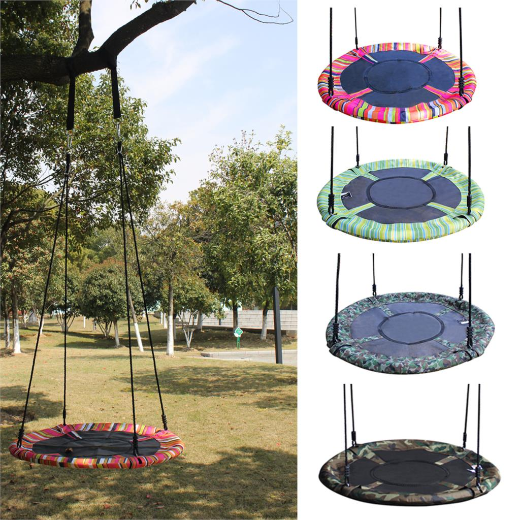 New Toy Swing For Kids Stripe Camouflage Pattern Round Nest Tree Swing Kids Toys Outdoor Indoor Folding Baby Swing Hanging Chair new kids pod swing chair nook hanging seat hammock nest for indoor and outdoor use great for children kids 7 types