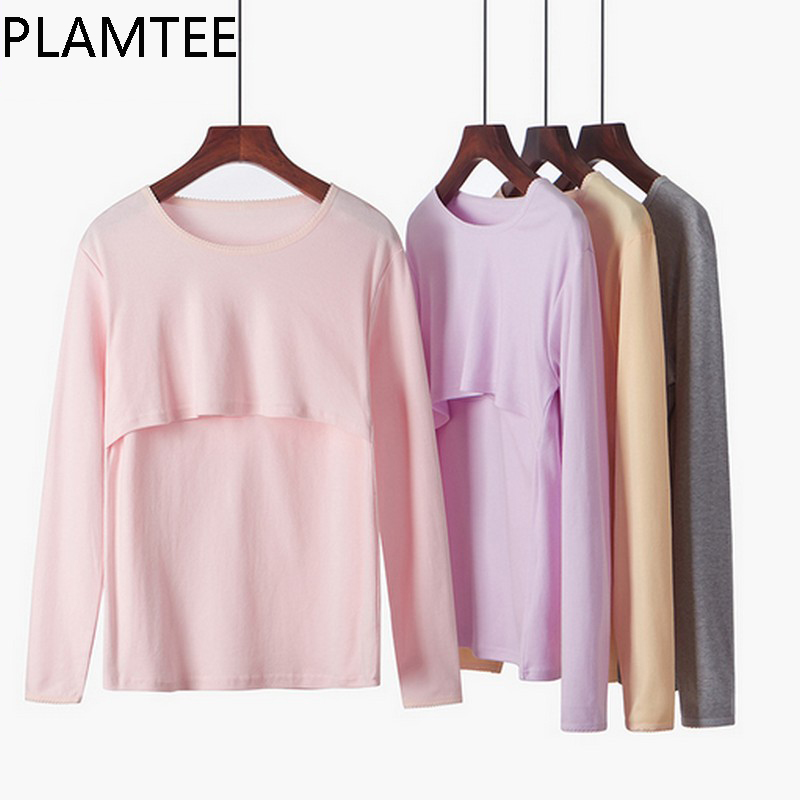 PLAMTEE Cotton Nursing Tops For Pregnant Women Casual Solid Color Breastfeeding Clothes Long Sleeves O-neck Maternity T-shirts