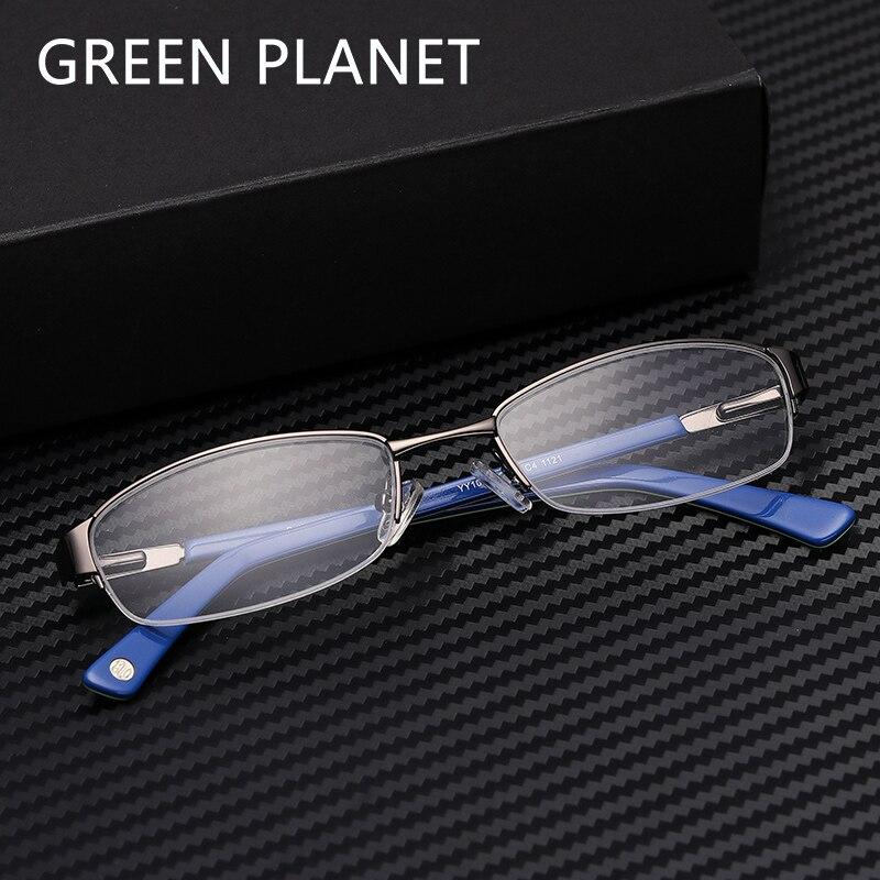 Metal Men Spectacles Frame Round Half Rim Clear Optical Myopia Designer Brand Trendy Computer Eyeglasses #CA2002