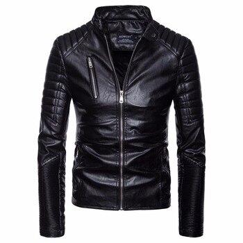 Men Autumn Winter Coat Jacket Veste Homme Multi Zipper Motorcycle Faux Leather Jacket Coat Male Vintage Punk Leather Jacket