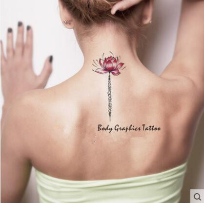 2016 Waterproof Temporary Fake Tattoo Stickers Elegant Pink Lotus